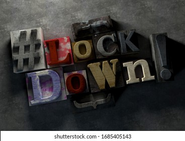 3D Illustration of grunge wooden blocks  with Lockdown text and typography sign on concrete background. Graphic for coronvirus lock down and covid infection