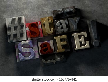 3D Illustration of grunge wooden typography blocks with coronvirus message 3D Illustration of grunge wooden typography blocks with coronvirus message Stay Safe to encourage people to take the world