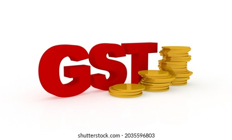 3d illustration gst tax with gold coin business concept