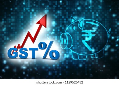 3d Illustration GST Tax India Concept isolated in digital background