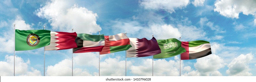 3D Illustration of the Gulf Cooperation Council (GCC) official flag and of national flags of the six countries which are member states of the Cooperation Council for the Arab States of the Gulf
