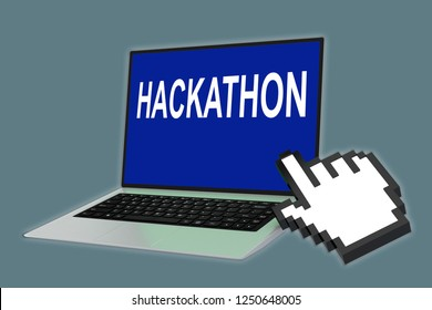 3D illustration of HACKATHON script with pointing hand icon pointing at the laptop screen
