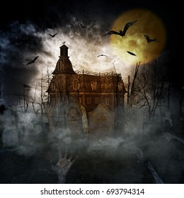 3D illustration of a halloween concept background of castle and graveyard,Horror background