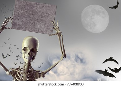 3D Illustration of a Halloween skeleton hand showing sign banner Halloween background