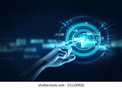 3d illustration of hand touch gesture on futuristic technology design element represent multitouch technology