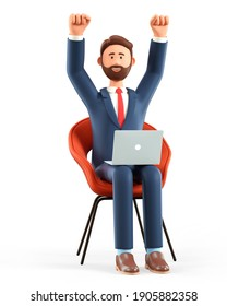 3D illustration of happy bearded man with laptop sitting in a chair and throwing his hands up in the air. Cartoon joyful businessman celebrating success, working in office, isolated on white.