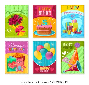 3d illustration of Happy birthday holiday invitation balloons and gifts 2021