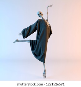 3D Illustration of Happy Dancing Skeleton