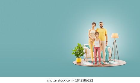 3d ilustración de una familia feliz disfrutando de un nuevo hogar. Feliz concepto familiar.