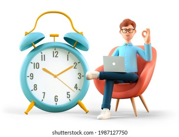 3D illustration of happy man with laptop showing ok gesture and sitting in armchair nearby a huge vintage alarm clock. Businessman making in time. Deadline, project limit, task due dates concept.