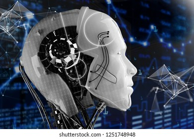 3D illustration. The head of the robot. New technologies. Artificial Intelligence. Robots Future On a dark blue background graphs.