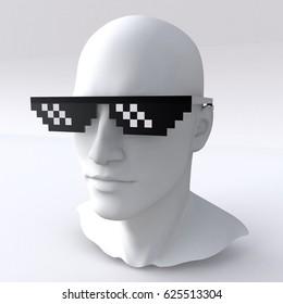 3D illustration of Head wearing Thug life Glasses