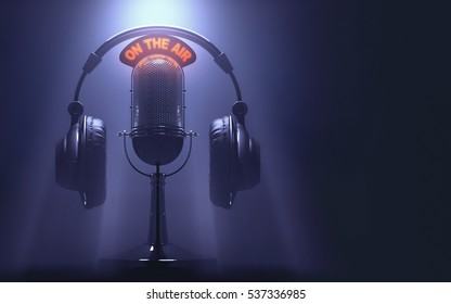 "3D illustration of headset on the microphone with the ""On The Air"" light on."