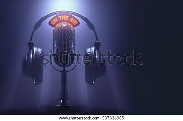 """3D illustration of headset on the microphone with the """"On The Air"""" light on."""