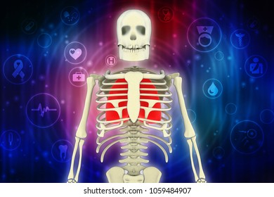 3d illustration Healthy Human Lungs with skelton