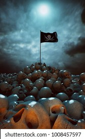 3D Illustration. Heap of skulls with pirate flag. Concept of mass death.