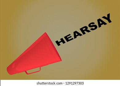 3D illustration of HEARSAY title flowing from a loudspeaker