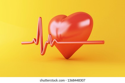 3d illustration. Heart with Heartbeat pulse line on yellow background. Health medical concept.