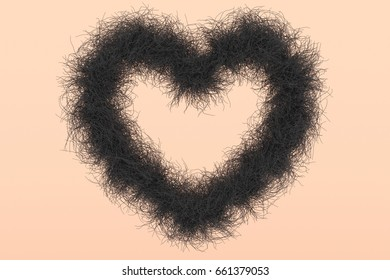 3d illustration; Heart Shape with black Hair as Symbol against the female Shave