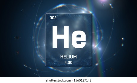3D illustration of Helium as Element 2 of the Periodic Table. Blue illuminated atom design background with orbiting electrons. Design shows name, atomic weight and element number