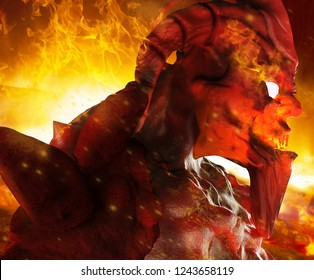 3d illustration of a hellish demon creature face profile with glowing eyes close up standing on inferno fire background.