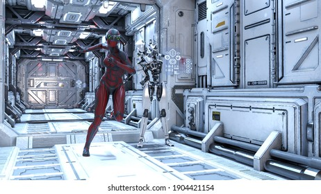 3d illustration of a helmeted woman fleeing from a robot trying to bring his weapon up in a long futuristic corridor.