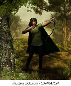 3d illustration of the heroic outlaw Robin Hood, from English folklore. The highly skilled archer takes aim in Nottingham forest