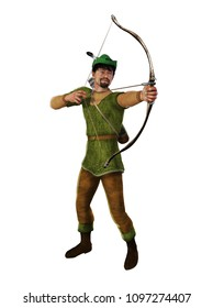 3d illustration of the heroic outlaw Robin Hood, from English folklore. The highly skilled archer takes aim