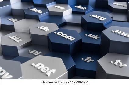 3D illustration hexagon domains