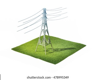 3d illustration of high voltage electric tower standing on ground with grass isolated on white