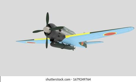 3D illustration. Historical Japanese torpedo bomber