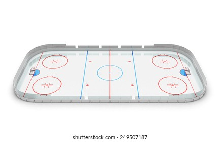 3d illustration hockey arena isolated on white background.
