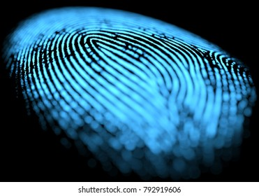 3D illustration. 3D holographic fingerprint on black background