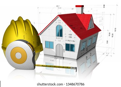 3D illustration. Home with measurements, helmet and meter. Construction building project isolated on white background.