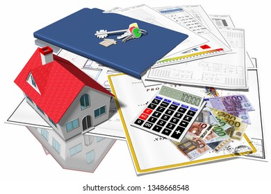 3D illustration. Home purchase, sale. House symbol in purchase, sale, with documents and property keys.