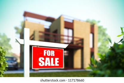 """A 3D illustration of """"Home For Sale"""" sign in front of new house."""