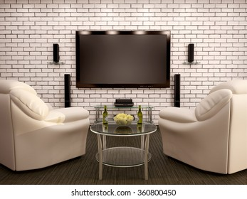 3d illustration of home theater leather chairs table with chips and beer