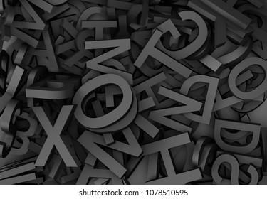 3d illustration horizontal closeup of black letters background texture