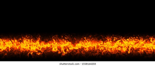3d illustration horizontal straight line of fire with black background