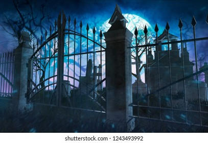 3d illustration of a horror full moon cemetery with metal gates, tombstones and crypts.