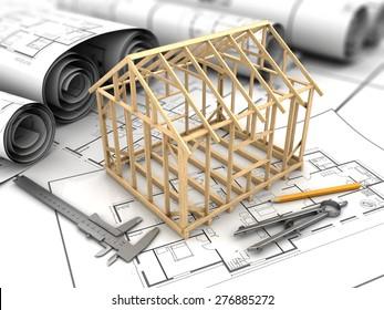 3d illustration of house blueprints and frame model