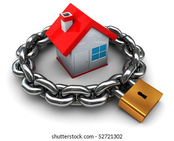3d illustration of house with chain and padlock, home security concept