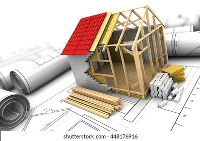 3d illustration of house frame design project