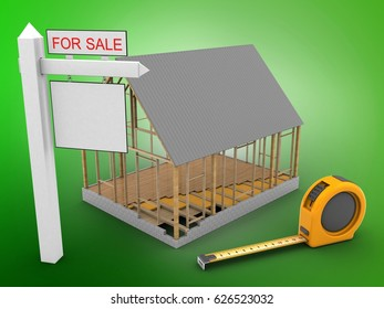 3d illustration of house frame over green background with ruler and sale sign