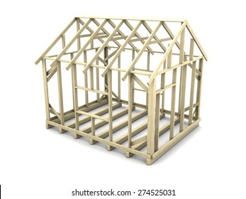 3d illustration of house frame project over white background