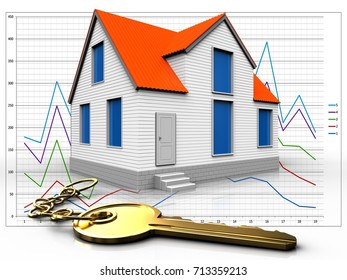 3d illustration of house with golden key over diagram background