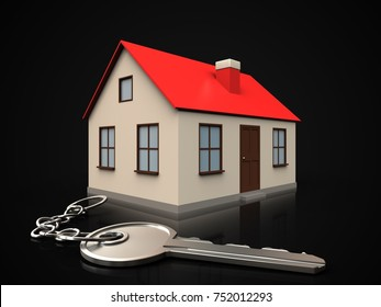 3d illustration of house with key over black background