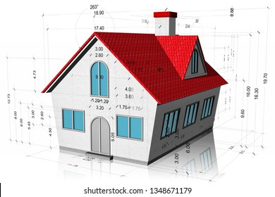 3D illustration. House with measurements, construction project isolated on white background.