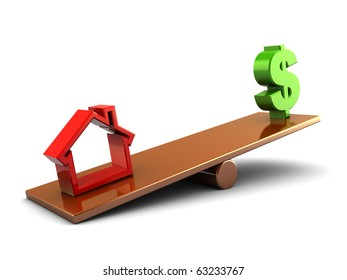 3d illustration of house and money on scale board, over white background