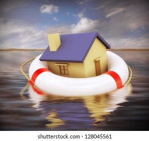 3d Illustration of house on lifesaver floating on water